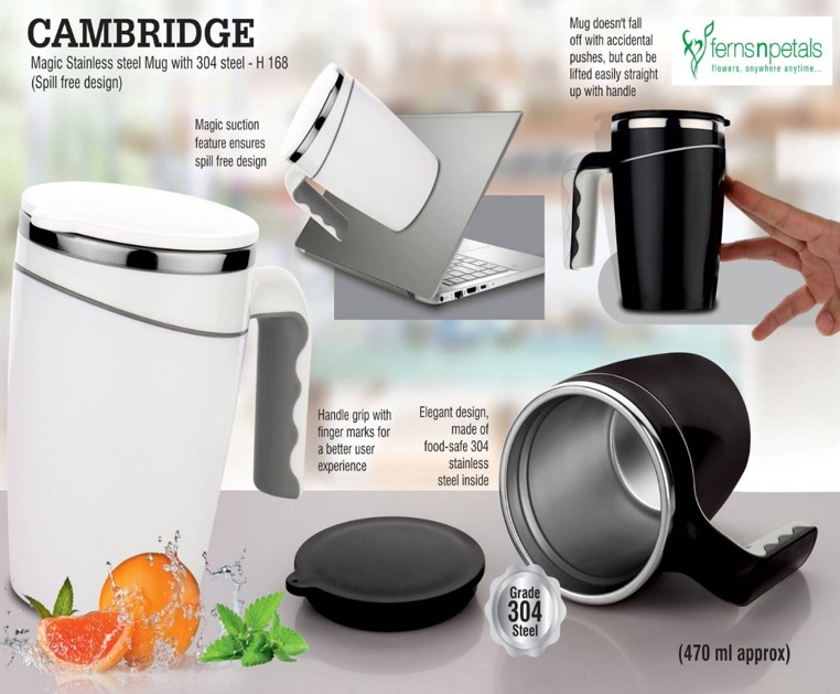 Cambridge Magic Stainless steel Mug | Spill Free Design