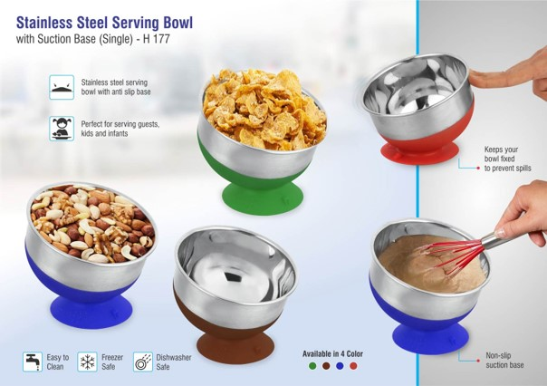 Stainless steel Serving bowl with suction base (single)