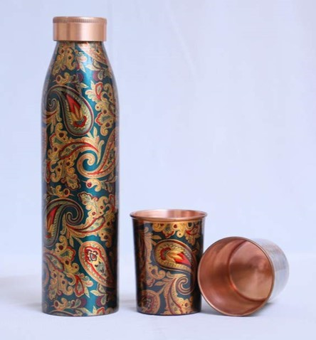 Self Print Copper Bottle and Two Glass