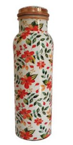 Floral Print Copper Water Bottle