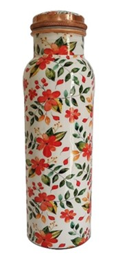 Floral Print Copper Water Bottle