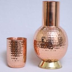 Designer Copper Surahi & Glass Set