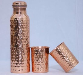 Hammered Bottle & Glass Set