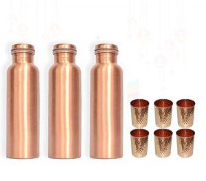 Set of 3 Copper Bottle & 6 Glass