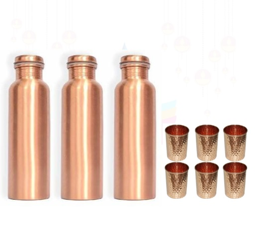 Set of 3 Copper Bottle & 6 Glass