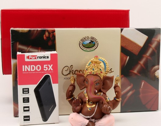 Ganesha with Chocolate & Power Bank