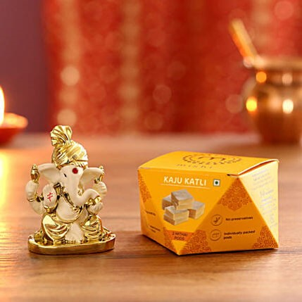Gold Plated Ganesha with Kaju Katli