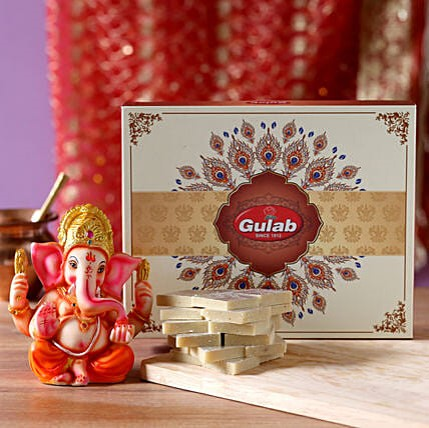Ganesha Idol with Kaju Katli