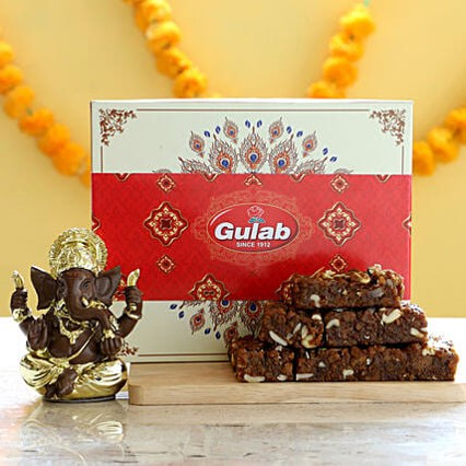 Dhoda Burfi & Gold Plated Ganesha